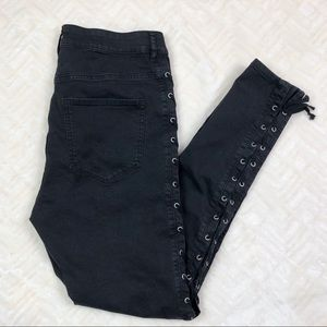 Divided H&M Lace Up Side Tie Black Jeggings 14
